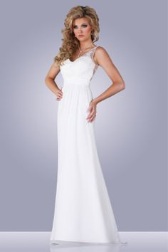 A-line chiffon gown with lace straps and elegant cutout back