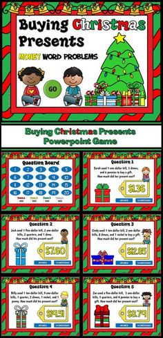 Practice counting coins with this fun money counting games. Studens must figure out how much each child paid for their Christmas gift. Money amounts are up to $20.00 and includes quarters, dimes, nickels, and pennies.