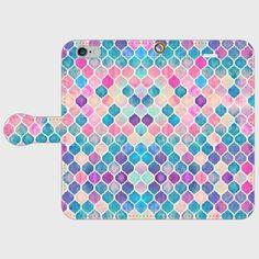 モロッコタイルパターン ピンク&ブルー 手帳型スマホケース iphone5/5s対応
