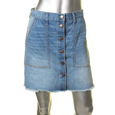 Current/Elliott Womens Naval Cutoff Above Knee Denim Skirt