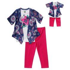 Girls 4-14 Dollie & Me Floral Mock-Layer Top & Solid Leggings Set, Girl's, Size: