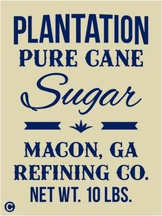 Primitive Stencil, PLANTATION SUGAR Vintage Kitchen Feed Sack  Advertising Sign picclick.com