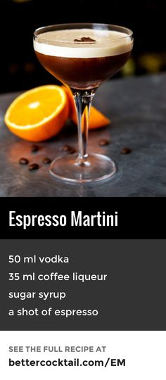 The Espresso Martini is a variant of a classic vodka drink with a strong emphasis on caffeine. As the cocktail contains a shot of espresso, this also adds caffeine content to the drink which is sure to liven you up. The drink also features Kahlúa, a blend Classic Cocktails, Fun Cocktails, Party Drinks, Cocktail Drinks, Cocktail Glass, Strong Cocktails, Popular Cocktails, Vodka Drinks, Yummy Drinks