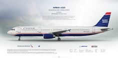 Airbus A321 American Airlines N578UW US Airways Heritage Livery   www.aviaposter.com   Airliners profile print   #airliners #aviation #jetliner #airplane #pilot #avia #airline
