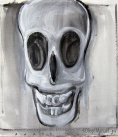 calavera que rie 4. Painting of the Serie Surrealism for sale by artist Diego Manuel