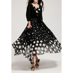 Women's Chiffon Color Matching Beam Waist Polka Dot Pattern Ruffles Strappy Casual Twinset Dress, BLACK