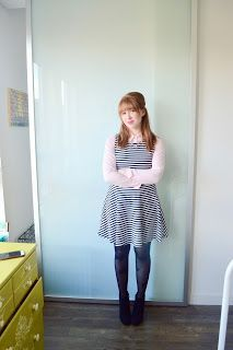 Collar clips with Striped Dress
