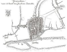 Gorinchem (Gorickum) Netherlands about 1558, based on a map by Jacob van Deventer