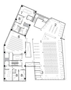 Gallery of District of Columbia Public Library / The Freelon Group Architects - 11 District of Columbia Public Library,Second Floor Plan Public Library Architecture, Public Library Design, Factory Architecture, Paper Architecture, Architecture Plan, District Of Columbia, Library Floor Plan, Museum Plan, Community Library