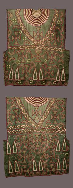 Africa | Ceremonial tunic from the Bamileke or Bamum people of the Grasslands of Cameroon | 1st half of the 20th century | Commercially produced cotton ground with cotton hand embroidery