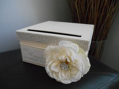 Vintage Glam Wedding Card Box Modern with ivory ribbon ivory rose with rhinestones personalized tag You Customize Colors and Flowers
