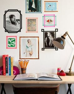 idea: frame pictures in washi tape (the same tape used in the table-covering DIY). some other good ideas for contact paper / temporary wall decor