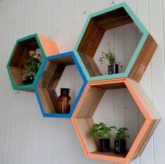 Hexagon boxes + storage + shelving