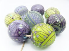 Moogin Beads-set of large purple, lilac and green beads , lampwork / glass   - SRA by mooginmindy on Etsy