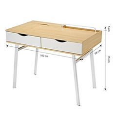 LANGRIA Modern Minimalist Large Computer Desk with 2 Drawers 2 Built-in Storage Compartments Sturdy Metal Legs Laptop Study Workstation for Home Office x 23 x in, Natural Wood & White) Drawing Room Furniture, Metal Furniture, Diy Furniture, Home Office Table, Home Desk, Wooden Desk, Wood Table, Worktop Designs, Desk For Girls Room