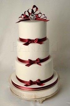 IVORY BURGUNDY WEDDING CAKE WC6805