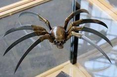 knife, skull, spider