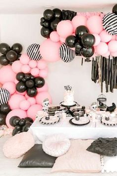 Boo! Check out this spooktacular Halloween party! The table settings and balloon garland are incredible! See more party ideas and share yours at CatchMyParty.com #catchmyparty #partyideas #halloween #boo #halloweenparty Halloween Dessert Table, Halloween Party Favors, Halloween Desserts, Halloween Cupcakes, Halloween Treats, Halloween Decorations, Halloween Boo, Happy Halloween, Pink Punch