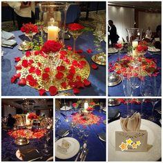 ロイヤルブルーのテーブルクロスに上に飾られた鮮やかな赤いバラとゴールドのプレートは、「美女と野獣」の世界観をイメージされたそう♡打ち合わせでは、スタッフの方も色々と提案をしてくださったそうです。