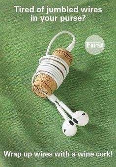 To the rescue: a wine cork! Simply poke a hole in one end of the cork with a sma. - To the rescue: a wine cork! Simply poke a hole in one end of the cork with a small nail, then use a - Headphone Storage, Office Hacks, Office Ideas, Craft Projects, Projects To Try, Wine Cork Crafts, Crafts With Corks, Wine Bottle Crafts, Wine Bottles
