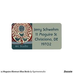 11 Maguire Abstract Blue Birds Address Label