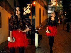 Orange feather skirt