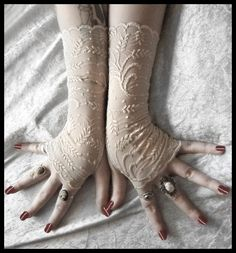 Steampunk - Rohan Lace Fingerless Gloves Soft Ivory Cream Metallic Floral Gothic Vampire Regency Tribal Bellydance Goth Austen Bridal Fetish Gypsy by ZenAndCoffee Lace Gloves, Fingerless Gloves, Stretch Lace Fabric, Beige Wedding, Wedding Gloves, Steampunk Wedding, Bridal Lace, Bridal Lingerie, Mitten Gloves