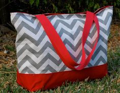 Large Grey Chevron and Red Canvas Tote Bag by BellaJeanTotes, $45.00