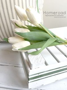 Faux tulips in a DIY tulip tray using found wood and stir sticks