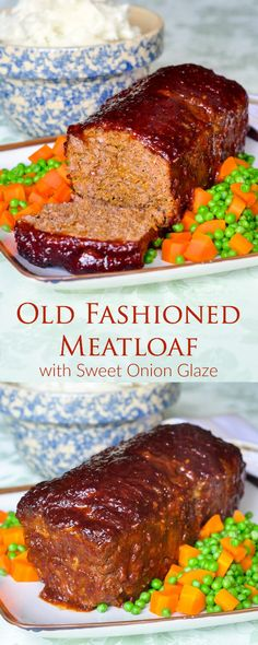 Meatloaf with Sweet Onion Glaze - an old fashioned meatloaf recipe that stays moist and is complimented with a delicious, easy to make, sweet onion glaze.