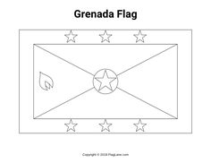 Free printable Grenada flag coloring page in PDF format. Flag Coloring Pages, Free Coloring, Grenada Flag, Latin America, Flags, Homeschooling, Free Printables, Colouring In, Free Printable