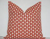 "Schumacher - Celerie Kemble Betwixt in Spark - 16"" x 16"" - Decorative Pillow Cover - Deep Orange - Ivory - Throw Pillow - Accent Pillow. $45.00, via Etsy."