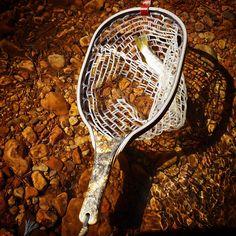 A buckeye burl custom Sierra Net & Brown Trout set against an Arizona freestone river. Fly Fishing Net, Fish Nets, Net Games, Buckeye Burl, Brown Trout, Fishing Accessories, Fly Tying, Landing, Arizona