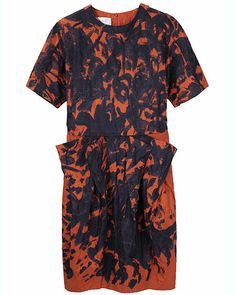 Rust and navy, such a good color combination. Cacharel brushstrokes dress at La Garconne.