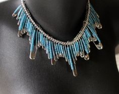 beaded safety pin necklace on etsy