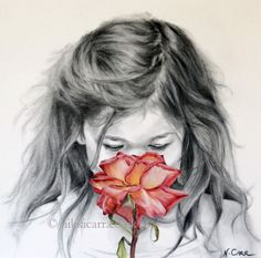 "Limited Edition Print of original charcoal drawing of a girl, face on, smelling a red rose, ""Kiss From A Rose"" by artist Nikki Carr, from £60 (black, white and shades of red). Also available as a beautiful art card (£2). Find out more by clicking on the image to go directly to the product page. Receive an instant 10% discount code by joining my subscribers list at nikkicarr.co.uk. Please repin!"