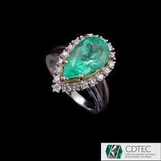 RRV $22167 - 18ct Two Tone Gold, 4.70ct Colombian Emerald & Diamond Ring