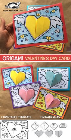Origami Valentine's Day Card - Everything you are looking for Valentines Origami, Kinder Valentines, Valentine Activities, Valentines Art, Valentine's Day Crafts For Kids, Valentine Crafts For Kids, Kids Origami, Origami Easy, Clock Craft
