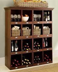 wine shelf, great for my similar IKEA shelf Wine Shelves, Wine Storage, Homemade Furniture, Furniture Making, Home Cocktail Bar, Homemade Bar, Home Brewing, Sweet Home, Wine Cellar