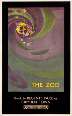 """The zoo; fish"" by Gwynedd M Hudson Published by London Underground Electric Railways Company Ltd. Notes From Underground, London Underground Tube, Posters Uk, Railway Posters, London Transport, London Travel, Public Transport, Zoo Book, Scotland History"