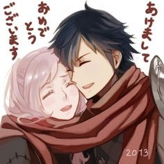 Robin and Chrom- Fire Emblem Awakening. Super adorable scarf sharing couple time