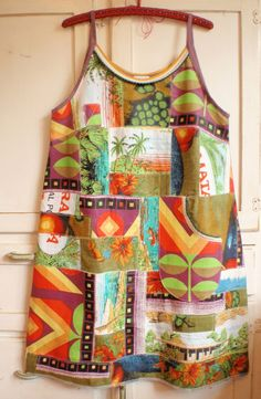 Upcycled Womens Patchwork Dress from vintage linen tea towels