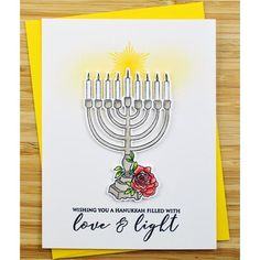 Happy Hannukah Let it glow Hannukah card Festival of Lights by Of Note Stationers Jewish Holiday Cards Letterpress holiday card