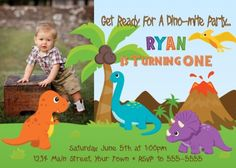 Custom Dinosaur Birthday Invitation  Digital by SquigglesDesigns, $10.00