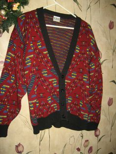 vintage  oversized  80s mens cardigan by Linsvintageboutique, $28.50