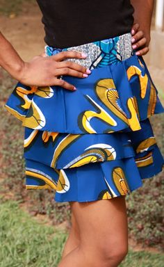 African print three layer skirt