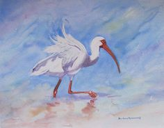 Ibis Beach Bird Painting Ocean Seashore Sand by BarbaraRosenzweig, $48.00