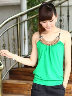 Bead Necklace Casual Camisole  US$ 11.59