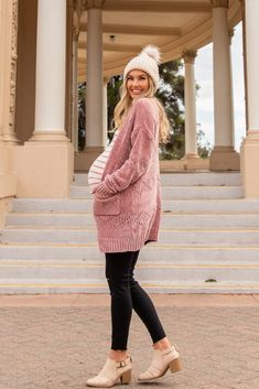 Pink Chenille Diamond Knit Cardigan