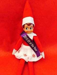 """This """"Elf of the Year"""" pageant sash. 